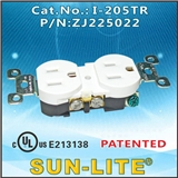 SUN-LITE带防护门双联插座I-205TR;美规插座