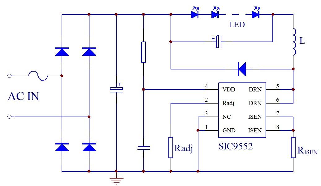 sic955x系列高精度非隔离降压型led恒流驱动芯片