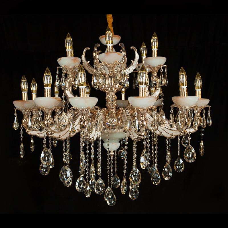 水晶吊灯 欧式客厅灯 香槟色 金黄色 卧室餐厅蜡烛灯