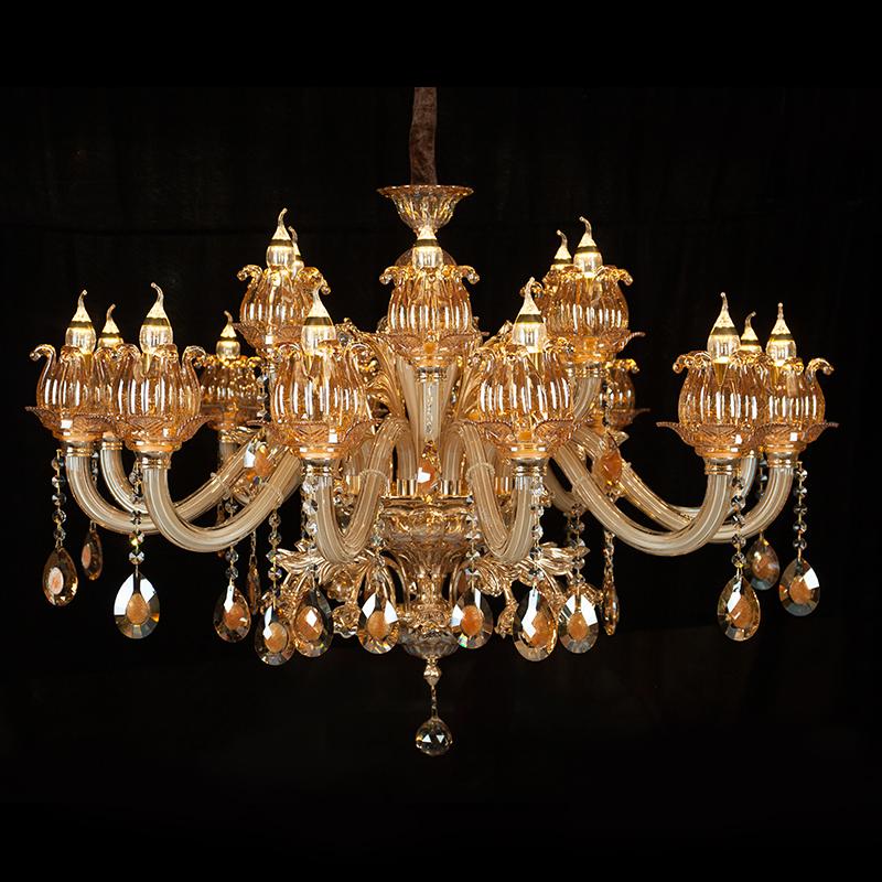 欧式金色锌合金蜡烛水晶吊灯