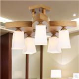 罗丹凯简约现代中式吸顶灯 餐厅书房客厅木头吸顶灯 型号HD-057-5+1