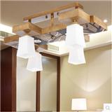 罗丹凯简约复古中式吸顶灯 餐厅书房灯客厅木头吸顶灯 型号HD-061-4+2