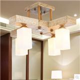 罗丹凯简约现代中式吸顶灯 别墅书房客厅木头吸顶灯 型号HD-068-4+1