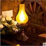 中式简约复古农村铁艺煤油灯卧室茶几床头创意灯具传统玻璃台灯