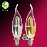 led蜡烛灯,E14/ E27 新款超亮尖泡拉尾 高档节能灯吊灯水晶灯光源 PC四方宝塔
