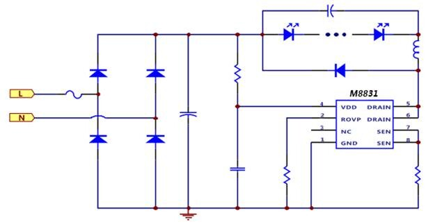 全范围输入电压的非隔离降压型led恒流电源驱动芯片茂