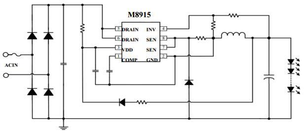 非隔离降压型有源pfc led驱动芯片茂捷m8915