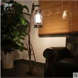 中式落地灯卧室复古铁艺马灯客厅沙发角乡村创意装饰田园煤油灯具