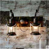壁灯创意麻绳铁艺马灯田园茶馆煤油灯具美式乡村床头复古卧室灯饰