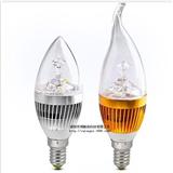 厂家直销 3/4/5W节能环保LED蜡烛灯超亮水晶灯 E14螺口尖泡拉尾灯 LED灯泡 360度发光