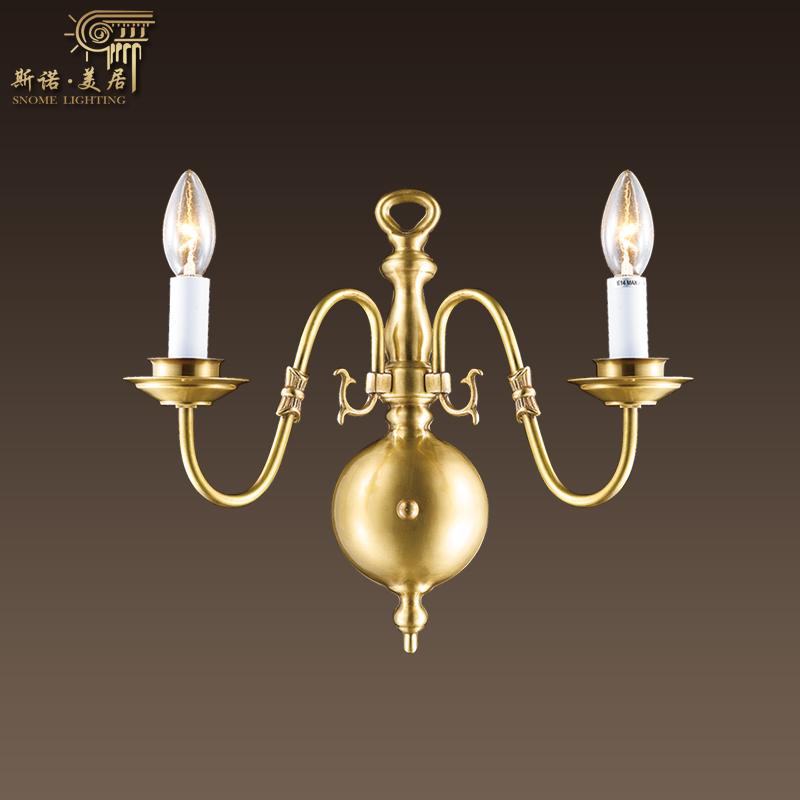 斯诺美居美式简约客厅全铜壁灯欧式复古双头床头灯sb40701-01