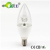 LED蜡烛灯5W拉尾尖泡 C37塑包铝蜡烛灯莲花状 吊灯专用灯专供出口