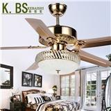 厂家直销土豪金装饰电扇灯水晶铁叶配遥控吊扇灯KBS-4801