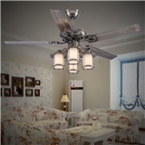 厂家直销仿古装饰风扇灯垂直灯罩水晶风扇灯铁叶吊扇灯KBS-4806