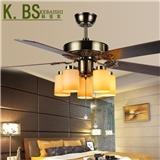 厂家直销欧式仿古装饰正反转电扇灯咖啡厅餐厅居家装饰木叶风扇灯5202