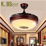新品促销新中式风扇灯三色变光配遥控客厅隐形吊扇灯工厂Y4204