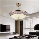 欧式奢华古典客厅餐厅隐形风扇灯三光调光吊扇灯吊灯配遥控y4210