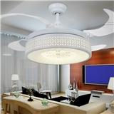 科佰实白色扇叶现代风透明4叶配遥控隐形铁叶装饰吊扇灯y4213