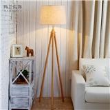 落地灯客厅卧室简约现代北欧宜家实木三脚架美式灯具时尚风