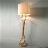 高档古典客厅酒店专用旋钮式落地灯 亚麻布灯罩卧室餐厅落地灯