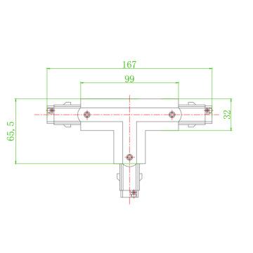 轨道灯四线轨道条三向接头欧规铝导轨条pc阻燃4线三回路t字接头采用