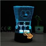 海绵宝宝02款的3D台灯 USB接口 触摸调光 支持定制LOGO 卧室小夜灯礼品灯可送朋友
