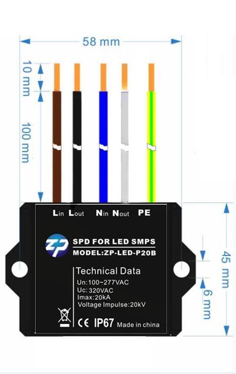 led路灯10kv浪涌保护器 led户外灯具10kv防雷器 并联串联型zp-led-p10