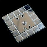 透明压花图案丝印玻璃插座面板