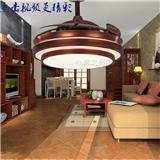风之光隐形扇 LED 风扇灯 餐厅吊扇灯 欧式简约吊灯 复古风扇客厅吊灯 中式红木色带灯扇L8683