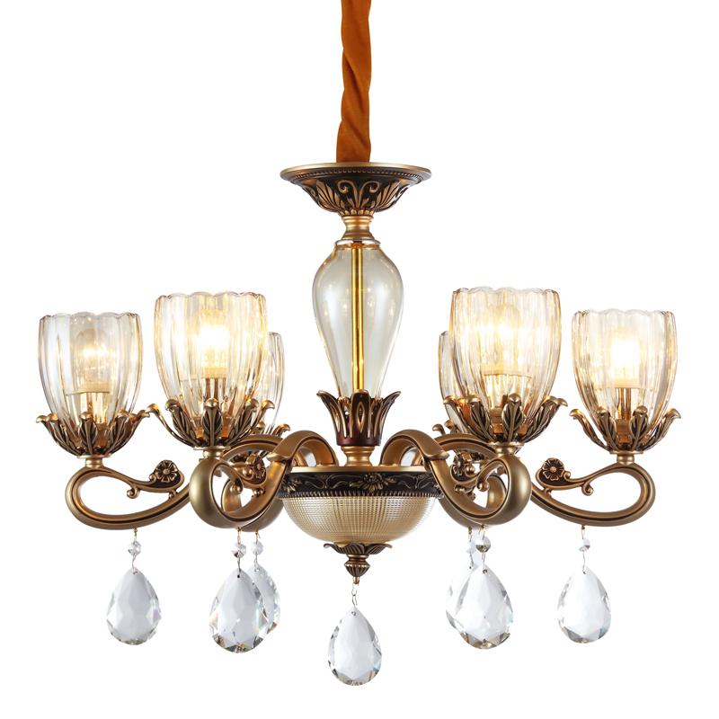 新中式简约水晶蜡烛吊灯 复古简欧式房间 客厅餐厅68头玻璃灯罩吊灯