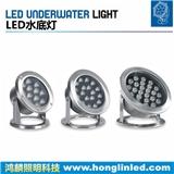 LED水底灯,12W18W24W大功率水下投射灯,全不锈钢水下照明灯具