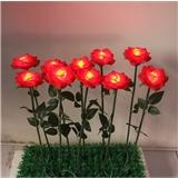 led户外装饰灯 园林绿化景观灯 仿真玫瑰花带叶子 发光玫瑰花海 户外防水 厂家直销 户外玫瑰花灯