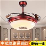 新中式风扇灯三色变光配遥控客厅隐形吊扇灯工厂Y4204