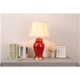 新中式美式红色陶瓷台灯客厅床头书房乡村装饰全铜台灯