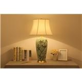 卧室床头柜灯新中式美式田园欧式全铜布艺客厅陶瓷台灯