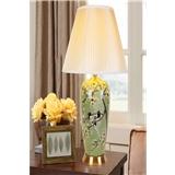 陶瓷台灯新中式美式欧式客厅别墅样板房绿色梅花花鸟大号全铜台灯