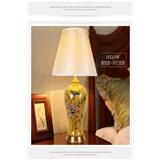 客厅台灯卧室床头灯美式田园欧式奢华复古新中式全铜陶瓷台灯