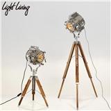 复古工业风落地灯创意个性loft设计师影棚工作室客厅实木探照台灯