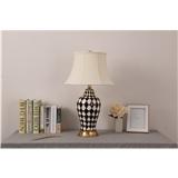 陶瓷台灯卧室床头灯新中式美式欧式客厅书桌全铜手绘黑白格子装饰台灯