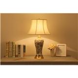 陶瓷台灯卧室床头客厅全铜陶瓷台灯样板房新中式美式欧式布艺台灯