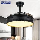 风之光新款LED吊灯黑色隐形风扇灯客厅餐厅白色风扇简约北欧吊扇灯家用美式现代创意电风扇