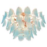 光秀 后现代轻奢创意天蓝色磨砂玻璃叶子吸顶灯