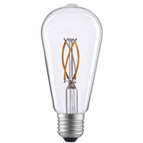 ST58灯丝灯/AC230/透明色/E27免焊白色塑件/2700K/4W/470lm/石墨烯弯曲