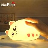 创意礼品七彩猫咪硅胶灯 拍拍小夜灯 新奇卧室床头儿童睡眠喂奶灯