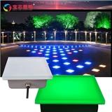 LED发光地砖灯户外防水不锈钢地板灯 七彩方形地埋灯