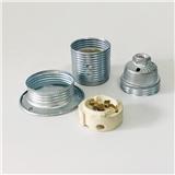 厂家供应ENEC认证 E27金属全牙附外环陶瓷灯芯铁灯头挂镀络色