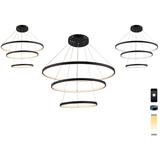 厂家定制环形智能LED吊灯双色温铝材环形LED吊灯个性环型吊灯灯饰